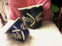 "2 X ART POTTERY DARK BLUE GLAZED PLANTER POTS BAMBOO DESIGN 8.75"" & 5.75"""